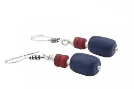Boucles d'oreilles pendantes longues argent et lapis lazuli
