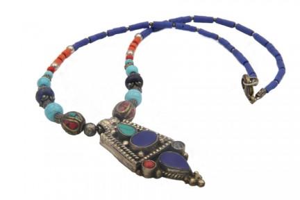 Collier avec pendentif lapis lazuli et argent du Tibet