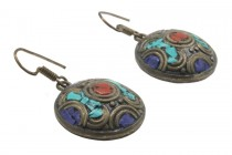Belles boucles d'oreilles tibétaines en pierre précieuse originales