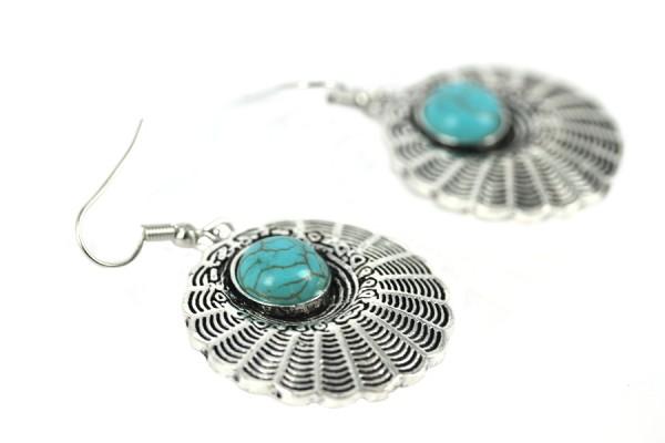 Boucles d'oreilles longues en argent avec pierre semi précieuse turquoise