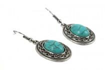 Boucles d'oreilles en turquoise indienne et amérindienne véritable