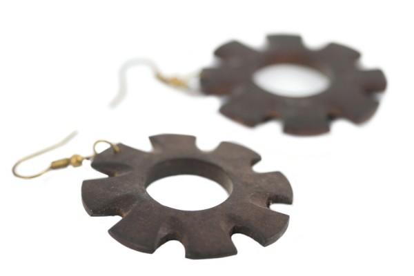 Boucles d'oreilles créoles en bois tribales africaines