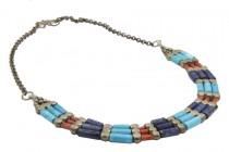 Collier plastron multicolore de style ethnique amérindien chic