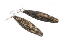 Boucles d'oreilles forme batons et baguettes argent et bois
