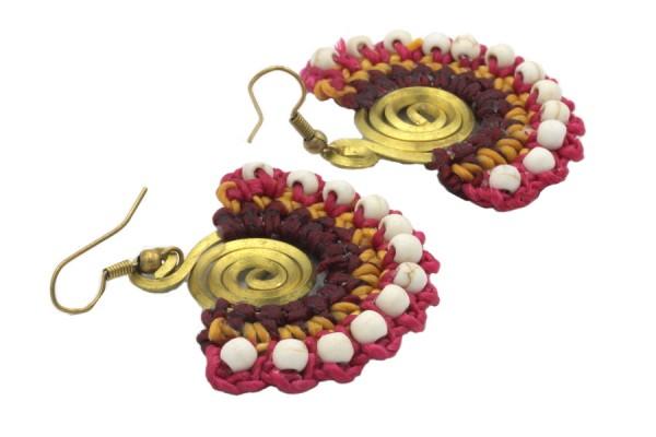 Boucles d'oreilles perles de rocailles pendantes et cuivre