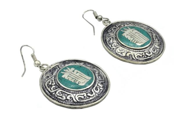 Boucles d'oreilles tibétaines en argent du Tibet