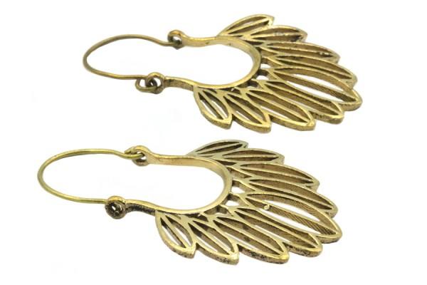 Boucles d'oreilles longues plumes or dorées bronze