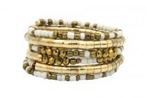 Bracelet doré et large multi rangs en perles amérindien