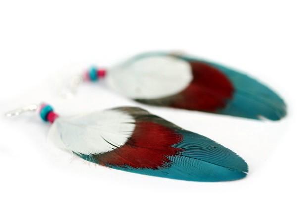 Boucles d'oreilles indiennes en vrai plumes d'Inde