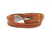 Bracelet cuir anneau métal argent homme et femme