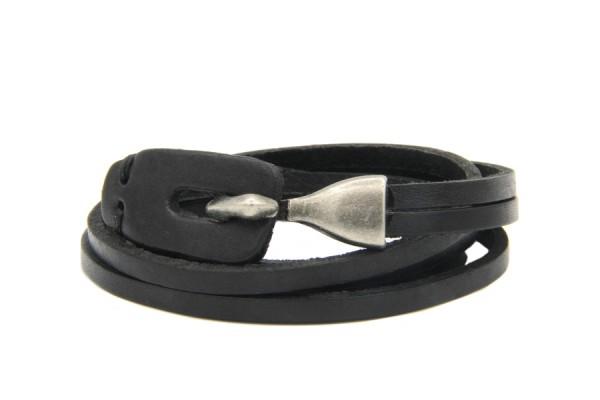 Bracelet cuir noir plusieurs tours pour femme et homme