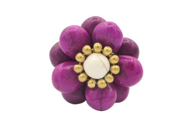 Bague violette pierre naturelle améthyste