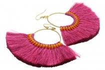 Boucles d'oreilles pompon rose fuschia