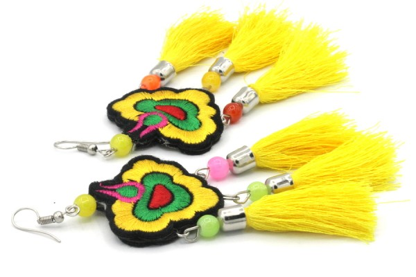 Boucles d'oreilles en plumes fantaisie