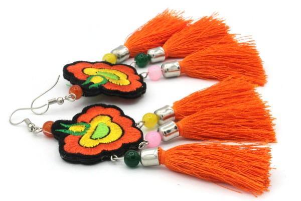 Boucles d'oreilles orange longues et pendantes