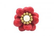 Grosse bague rouge fleur