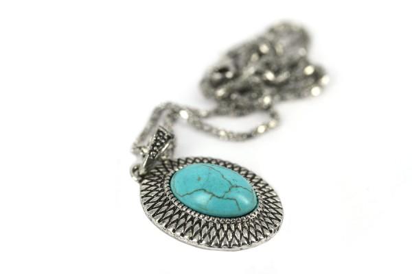 Sautoir pierre turquoise bohème
