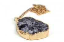 Collier pendentif quartz noir pierre brute