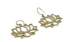 Boucles d'oreilles spirale or dorées et bois ethniques