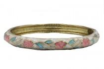 Bracelet rigide rose et fleurs