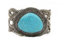 Bracelet manchette pierre turquoise femme homme