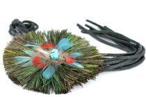 Collier sautoir ethnique plumes