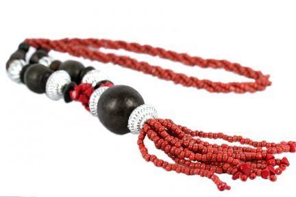 Collier sautoir perles rouges