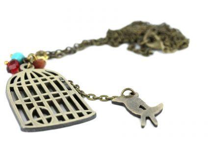 Collier pendentif cage à oiseau