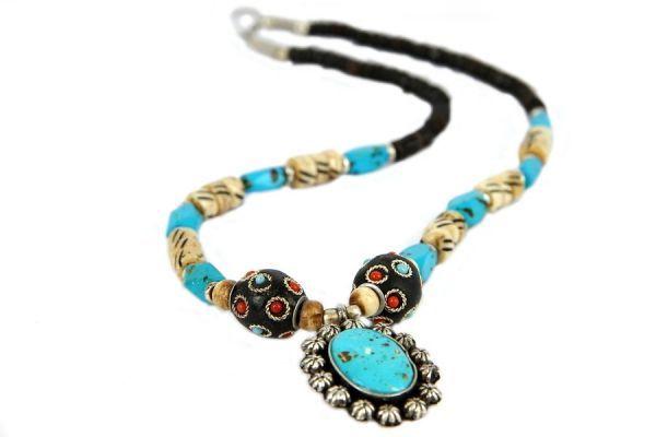 collier créateur turquoise bijoux