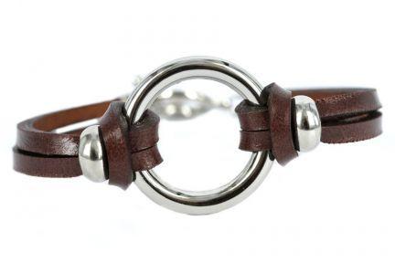 Bracelet cuir anneau argent