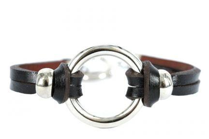 Bracelet cuir et argent femme