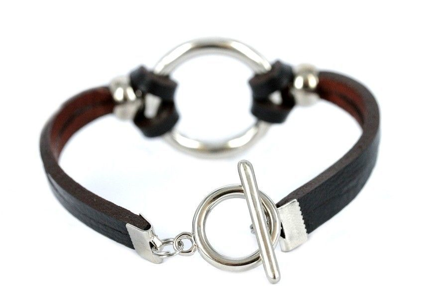 Bracelets femme cuir et argent