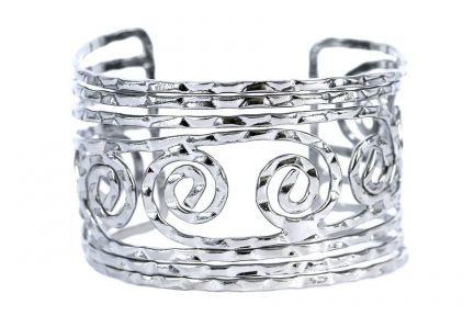 Bracelet métallique argent spirale