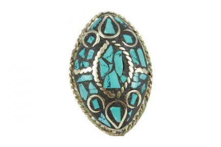 Bague indienne turquoise originale