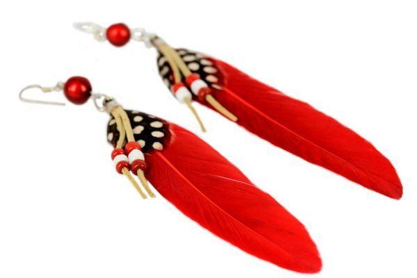 Boucles d'oreilles plumes Cerise