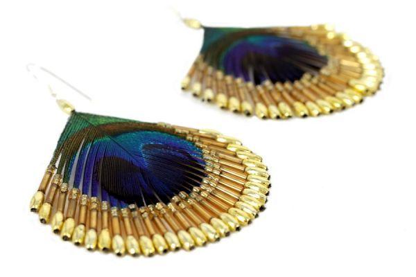 Boucles d'oreilles plumes d'or