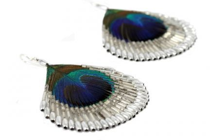 Boucles d'oreilles plumes paon