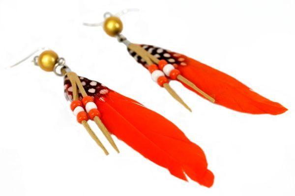 Boucles d'oreilles plumes Mandarine