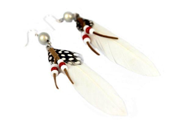 Boucles d'oreilles plumes neige