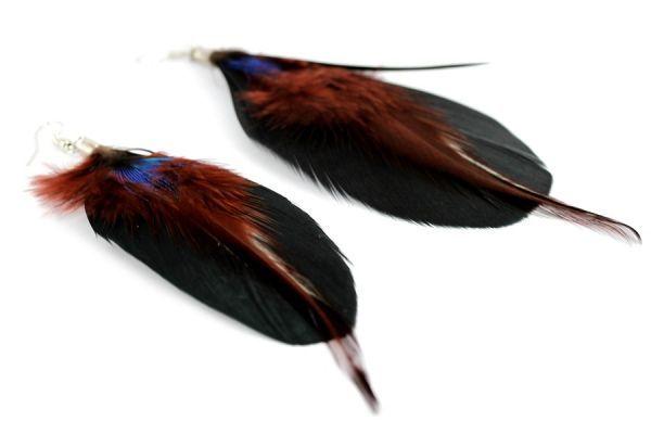 Boucles d'oreilles plumes Orientales