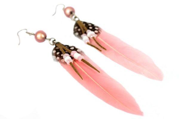boucles oreilles argent plumes perles rose