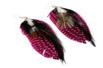 Boucles d'oreilles plumes noires et rose