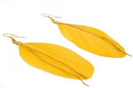 Boucles d'oreilles grosses plumes jaunes