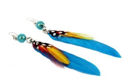 Boucles d'oreilles plumes bleu