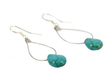 Boucles d'oreilles turquoise longues et fines