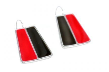 Boucles d'oreilles rouge et noires