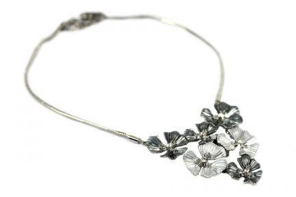 Collier flexible fleur d'argent