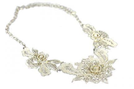 Collier argent fleur pendantes pour mariage