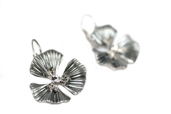 Boucles d'oreilles fleur argent