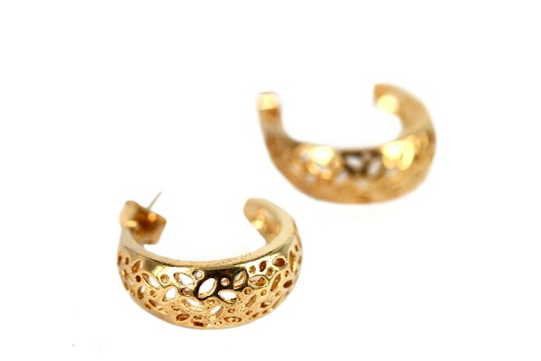 Boucles d'oreilles lune d'or